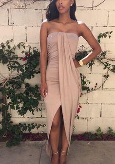 Khaki Plain Irregular Collarless Sexy Cotton Maxi Dress