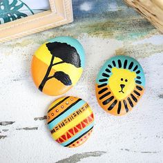 Lion King-Inspired Painted Rocks - Project by DecoArt