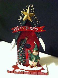 "8"" Red Wood Christmas Bird House snowman & tree WORLDWIDE SHIPPING"