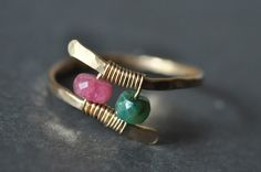 CUSTOM couples BIRTHSTONE ring  14k gold filled by muyinmolly