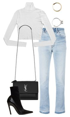 """Untitled"" by whoiselle ❤ liked on Polyvore featuring RE/DONE, Yves Saint Laurent, Balenciaga and Vetements"