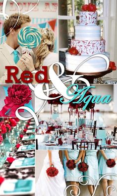 Red & Aqua wedding inspiration. This is really fun and the colors actually look nice together. What do you think is this great for a winter #wedding? #love