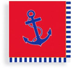 Red, White & Blue Anchor Beverage Napkins | Nautical Cocktail Party Decorations | Drink Supplies