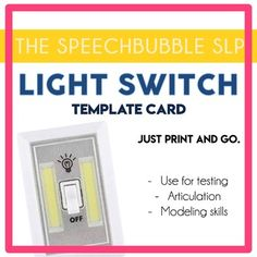 "Light Switch Template Cards: You have a sign on your door, ""Quiet Please. Testing in progress."" Only to here knock, knock, knock. Insert eye roll. Sometimes we need something a bit more attention grabbing. ⭐ #speechtherapy #SLP #SPED #assessment"