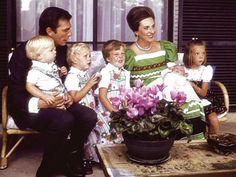 Spanish Royals | The Family of Infanta Pilar, Duchess of Badajoz (older sister of King Juan Carlos)-Luis Gómez-Acebo holding Luis and Bruno, Juan Filiberto sits next to Infanta Pilar holding baby Fernando and the eldest child and only girl Simoneta sits on the end.  1974.