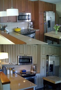 Maryann restored her old kitchen cabinets using Chalk Paint® by Annie Sloan. Looks great!