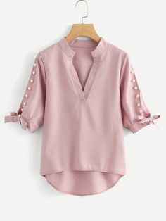 Shop Plus V Neckline Pearl Beaded Dip Hem Blouse online. SheIn offers Plus V Neckline Pearl Beaded Dip Hem Blouse & more to fit your fashionable needs. Casual Skirt Outfits, Stylish Dresses, Blouse Styles, Blouse Designs, Vetement Fashion, Asymmetrical Tops, Mode Hijab, Blouse Outfit, Plus Size Blouses