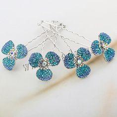 Pinzas de Pelo para Novia, aleación de zinc, Flor, chapado en platina real, con diamantes de imitación de Checo, color mixto, libre de níquel