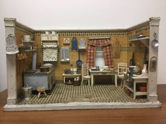 Up for sale is an antique Gottschalk dollhouse kitchen room box with all of the contents shown. There is a lot of loss and wear to the flooring as shown. The walls are worn and discolored. Most of the pieces do show loss due to aging. | eBay!