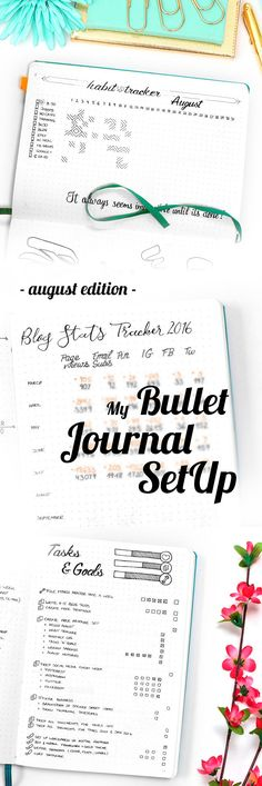 My August Bullet Journal Setup Including Habit Tracker, Calendex, Monthly Log and many more beautiful pages. As well as a big Free Printable Bundle at the end of the post! Bullet Journal Tracker, Bullet Journal How To Start A, Bullet Journal Spread, Bullet Journal Layout, My Journal, Bullet Journal Inspiration, Journal Pages, Bullet Journals, Journal Ideas