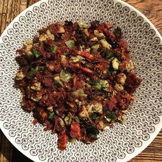 Last night a seasonal version of my cauliflower fried rice. With purple cauliflower Brussels sprouts zucchini bacon and egg. Macros Protein 17.2g Carbs 6.9g Fat 40.9. Absolutely delicious. X #missrdaisy #racheldaisy #melbourne #melbourneblogger #blogger #recipeblogger #keto #ketodiet #ketoblogger #ketorecipe #recipe #ketomeal #ketoweightloss #ketoaustralia #ketogirl  #ketolifestyle #ketofood #intermittentfasting  #lchf #ketocooking  #ketoforbeginners #ketodinners #ketogoals #ketoideas #ketogram