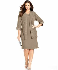 R&M Richards Plus Size Sleeveless Glitter Shift Dress and Jacket - Mother of the Bride - Women - Macy's Mob Dresses, Plus Size Dresses, Plus Size Outfits, Dresses With Sleeves, Halter Dresses, Dressy Dresses, Mother Of Groom Dresses, Mothers Dresses, Mother Of The Bride Dresses Plus Size