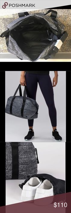 "NWT Lulu Fast Track Duffel (Heatproof Pocket 19L) Pack what you need to go from work to workout in this classic duffel. Fabric is water repellant, durable, and easy to wipe clean. Straps to secure your yoga mat. Padded pocket for your laptop or tablet. Interior pockets keep you organized and your sweaty or wet gear separate. Removable heat resistant pocket/pouch for your hair straightener. 16.5"" x 7"" x 8"". This bag also includes the separate Lulu bag for your shoes. Long strap also included…"