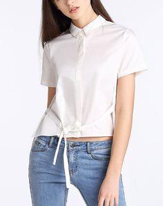 #AdoreWe #VIPme Blouses & Shirts - Moonbasa White Chiffon Insert Polo-neck Shirt - AdoreWe.com