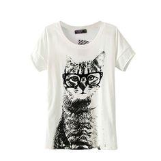 Etosell Retro Lady CrewNeck Short Sleeve T-Shirt Cute Cat Print Loose Tops at Amazon Women's Clothing store: