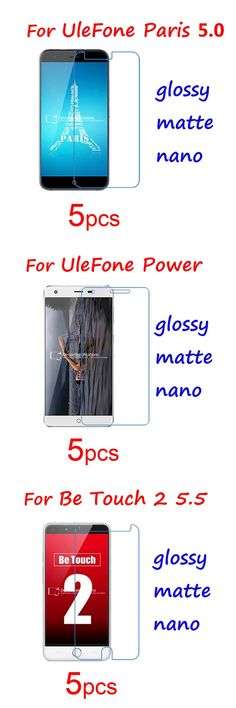 5pcs Guard Protective Films for Ulefone Be Touch 2 Paris Power Screen Protectors, Hi-Clear/matte/Nano Explosion Proof