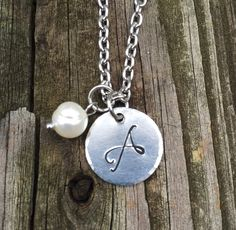 """Initial """"A"""" Necklace Hand-stamped with stainless steel chain on Etsy, $25.00"""