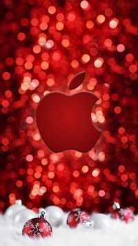 Red Christmas iPhone wallpaper with christmas balls