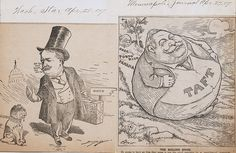 """Two political cartoons on one sheet: cartoon on left by Clifford Berryman published in the Washington Star, April 28, 1907, shows Taft leaving a dog labeled """"Politics"""" behind in Washington, D.C., as he travels to Ohio; cartoon on right by Charles Lewis Bartholomew published in the Minneapolis Journal, April 27, 1907, shows Taft as a stone rolling down a hill over Cuba, Puerto Rico, Panama, and the Philippines but gathering no moss. April 27, His Travel, Political Cartoons, Minneapolis, Puerto Rico, Panama, Cuba, Philippines, Ohio"""