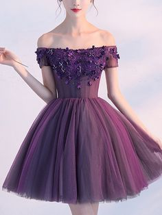 A line purple homecoming dress,off-shoulder short appliqued prom Cheap Short Prom Dresses, Cute Homecoming Dresses, Cute Dresses For Party, Lace Party Dresses, Sexy Wedding Dresses, Sexy Party Dress, Dress Lace, Party Gowns, Evening Dresses