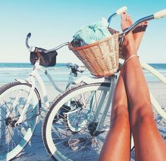 Oh yeah! This is the life! (Not me in the pic, but I do have a bike and I do live near the beach ♥)
