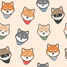 Kawaii Shiba inu Throw Pillow Art Print by - X-Small Dog Wallpaper, Cute Wallpaper Backgrounds, Cute Wallpapers, Japanese Dogs, Cute Japanese, Animal Drawings, Cute Drawings, Cute Dog Drawing, Dog Background