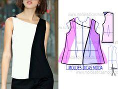 Faça a leitura da transformação do molde de blusa preto e branco feminina na frente com rigor antes de iniciar qualquer outro processo.