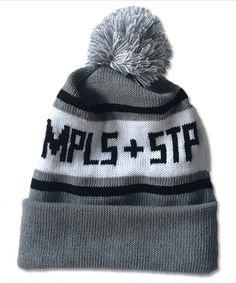 Black & Grey MPLS + STP Knit Pom Hat