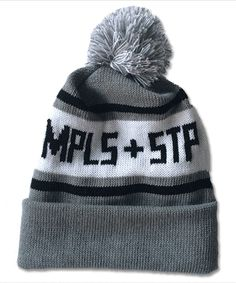 Black & Grey MPLS + STP Knit Pom Hat