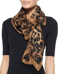 Animalier Skull-Print Scarf, Camel/Black by Alexander McQueen at Bergdorf Goodman.Alexander McQueen Leopard Print Skull Silk Chiffon Scarf/Wrap off retailFind women's scarves at ShopStyle. Shop the latest collection of women's scarves from the most p Ways To Tie Scarves, Ways To Wear A Scarf, How To Wear Scarves, Scarf Knots, Animal Print Scarf, Cool Outfits, Fashion Outfits, Fashion Scarves, Fashion Fashion