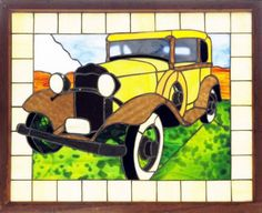 Stained Glass Old Car | Transportation