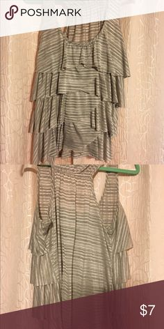 Gray and white striped top Tiered top. Make an offer Tops Tank Tops
