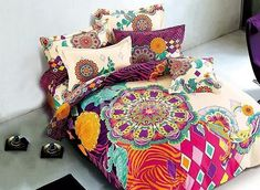 European Style Colorful Big Flowers Printing 4-Piece Duvet Cover Sets #bedding #bedroom #room
