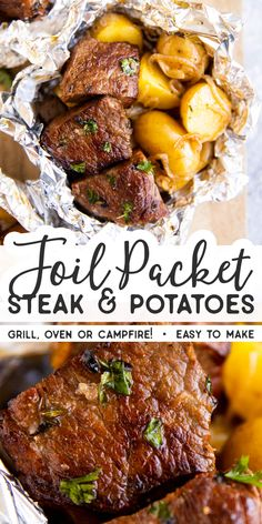 These Garlic Butter Steak and Potato Foil Packets are an easy family dinner recipe for summer. Cook them on the grill/campfire or in the oven – just add a vegetable or salad and your dinner will be ready in a flash! Cooking steak and potatoes toget New Recipes For Dinner, Healthy Dinner Recipes, Summer Dinner Ideas, Dinner Ideas For Family, Recipes For The Grill, Healthy Steak Recipes, Steak Dinner Recipes, Healthy Food, Grilling Ideas For Dinner