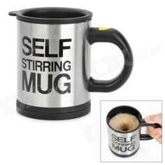 """Model: YSDX-398; Quantity: 1 piece(s) per pack; Color: Black + Silver; Material: Stainless steel; Capacity: 350ml; Specification: Power supply: 2 x AAA batteries (not included); Other Features: Greats for tea, coffee, hot chocolate and soups; Simply press the """"stir"""" button and have the hard work done for you; Get maximum results with minimum effort; Packing List: 1 x Mug; http://j.mp/VzoVfJ"""