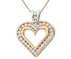 Pendant with 1 Carat TW of Diamonds in Yellow & White Gold Heart Ring, Diamond Heart, Bling Shoes, 1 Carat, White Gold, Pendants, Pendant Necklace, Chain, Totes