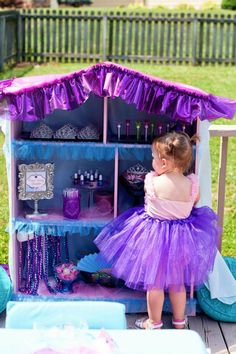Dress up station for a little girl princess party. Too cute!