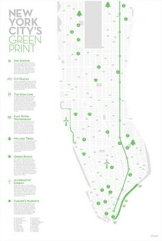 map of different green initiatives in NYC
