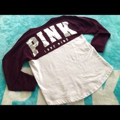 Like New Maroon Varsity Crew Like new NEVER WORE. Size small, nothing wrong, no signs of cracking to the letters Price is firm, NO TRADES PINK Victoria's Secret Sweaters Crew & Scoop Necks