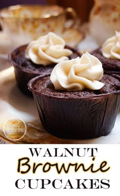 Walnut Brownie Cupcakes are rich and gooey with chocolate and walnuts #cupcakes #chocolate #brownies