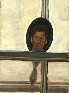 Interior with Hand Mirror (Self-Portrait), oil on canvas, x Lucian Freud 1967 private collection Lucian Freud, Sigmund Freud, Encaustic Painting, Painting & Drawing, Statues, Selfies, Mirror Art, Mirrors, Berlin