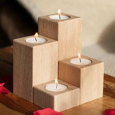 by SilaWood Oak Pillar Tealight Holders Candle Holders Wooden Candle
