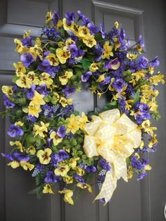 Floral Wreath, Chevron Ribbon, Lavender and Yellow Pansies by PebbleCreekDesigns