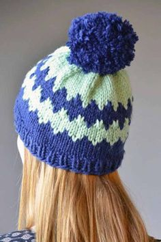 Icy winter blues in a diamond motif ring this ski hat knit in Deluxe Bulky Superwash