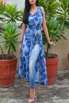 Buy Blue Printed Bubble Crepe Sleeveless Front Slit Kurti Online in India Colorauction Kurti Neck Designs, Kurta Designs Women, Kurti Designs Party Wear, Blouse Designs, Indian Dresses, Indian Outfits, Front Slit Kurti, Trendy Kurti, Kalamkari Dresses