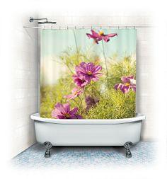 rideau de douche papillon rose et p che art illustration aquarelle papillons d cor girlie. Black Bedroom Furniture Sets. Home Design Ideas