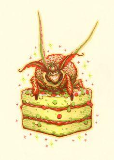 Orange moth print 5x7, lemon cake, fluffy moth, kawaii bug, creepy cute, dessert illustration, pop surrealism, whimsical art, gift for teen by SilkyTea on Etsy