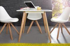 Stół Jula biały z drewnianymi nogami do kuchni styl skandynawski 80 cm