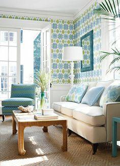 la couleur turquoise, chambre de séjour lumineuse, lampe de lecture blanche