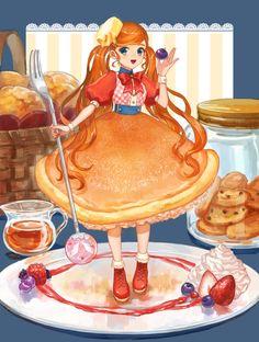 Anime Chibi, Kawaii Anime, Anime Art, Cute Girl Drawing, Cute Drawings, Desserts Drawing, Chibi Food, Chibi Girl, Minis